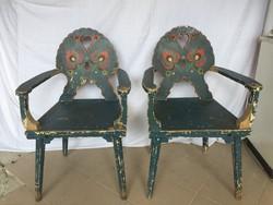 2db antik, népművészeti, kék népi karosszék (szék garnitúra)