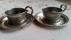 Nagyon szép,  alpakka kávés pohár  kis tányér 2 db eladó!
