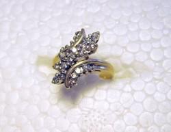 Elegáns 14 karátos sárgaarany 0.15 karátos természetes gyémánt koktél gyűrű