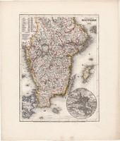 Dél - Svédország térkép 1849, eredeti, német, Meyers Atlas, 27 x 32 cm, Stockholm, Európa, Forsell