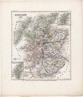 Skócia térkép 1849, eredeti, német, atlasz, 27 x 32 cm, Nagy - Britannia, Skócia, észak, skót