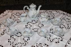 Zsolnay kék barackvirág mintás kávéskészlet