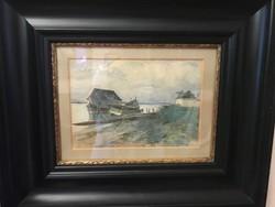 GYÖRÖK LEÓ (1847-1899)  Folyópart halászhajókkal