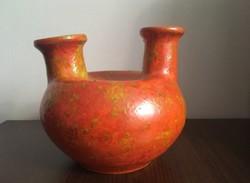 Tófej kerámia váza két nyakú