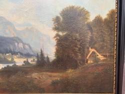 Aukción szerepelt, hatalmas Alpesi tájkép a XIX. századból