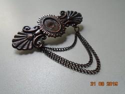 Régi antikolt rezezett fém bross lánccal