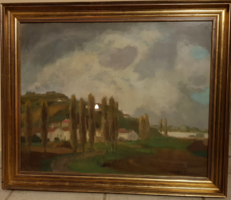 Bokor Vilmos festmény - Jegenyék