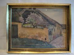 Kokesch Kató 1929 akvarell festmény utcakép