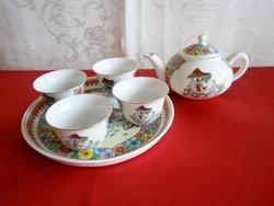 Nagyon ritka, különleges Japán porcelán kicsi szakés készlet vagy baba kávés készlet