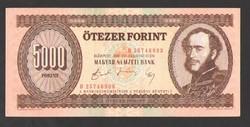 """5000 forint 1990. """"H"""".  aUNC!!  GYÖNYÖRŰ!!"""