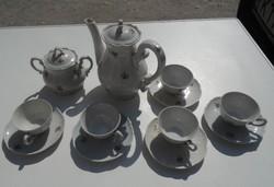 5 személyes Barokkos, szórt virágos Zsolnay kávés készlet