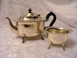 Jelzett, antik, ezüstözött, szép állapotú, teás vagy kávés kanna, hozzá illő cukortartóval