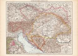 Ausztria - Magyarország térkép 1890, eredeti, angol nyelvű, 39 x 55 cm, nagy méret, monarchia, Bécs