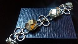 Arany Pirit betéttel ezüst karkötő