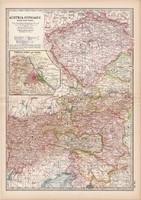 Ausztria - Magyarország nyugati része térkép 1902, eredeti, angol nyelvű, 29 x 41 cm,  Century co.