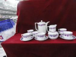 Ibolya mintás teás készlet, öt személyes, 14 darabos.