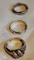 3 db Ezüst Gyűrű Vékony Jelzett Ezüst Lánc Medáliával Ajándék!