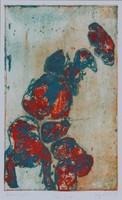 Pap Kata - Kavicsok 32 x 20 cm színezett rézkarc 1999