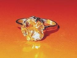 Virág Citrin köves 925 ezüst Gyűrű 6.5-es