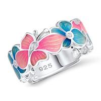 Tűzzománc virág motívumos gyűrű  10-es (62-es)  ÚJ!
