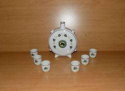 Hollóházi porcelán pálinkás készlet kulacs pohár Új Élet MGTSZ Orosháza