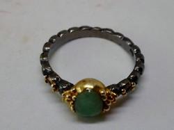 Szép valódi smaragd és ametiszt köves kézműves ezüst gyűrű