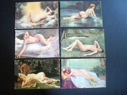 Hat darab 1910-es évek művészi akt képeslapok