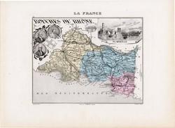 Bouches du Rhone térkép 1877, eredeti, színes, francia megye, Franciaország, Marseille, dél, tenger