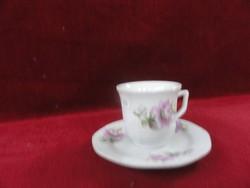 LILING porcelán kávéscsésze + alátét, halvány lila virággal.