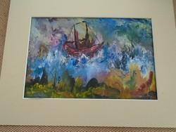 Márffy? vagy Marffy?i festmény vihar a Balatonon  44,5 X 34 cm