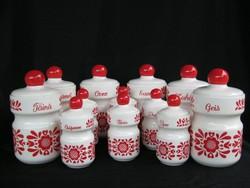 12 db-os porcelán fűszertartó készlet