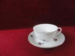 Kínai porcelán teáscsésze + alátét, hófehér alapon apró lila virággal.