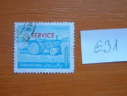 """PAKISZTÁN 10 P1979 -1981 traktorok - 1978-as pakisztáni postai bélyeg, """"SERVICE"""" felülnyomással  E31"""