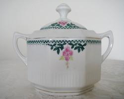 Régi porcelán szögletes virágos fedeles cukortartó