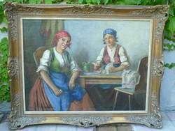Szász István (1878-1965): Kártyázó menyecskék