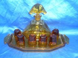Antik art deco üveg likőrös készlet