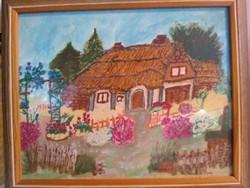 Naiv festmény akvarell 1999 Ház virágoskerttel