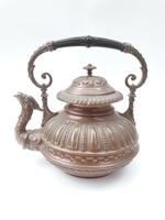 Különleges antik teáskanna - réz/bronz vízmelegítő kiöntő részletes mintázattal, griff fejes kiöntő