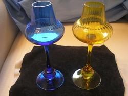 Antik művészi üveg talpas poharak Gyönyörű kék-sárga  színben 24 cm