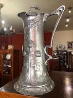 Szecessziós nagyméretű ezüstözött ón karaffa-1904-ből-ritkaság
