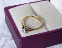 18 k arany-platina-gyémánt gyűrű - gyönyörű, antik ékszer