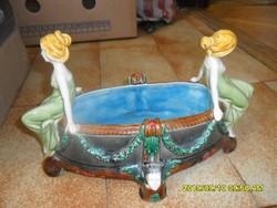 Szecessziós nagy asztalközép kínáló majolika