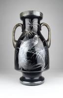 0X734 Antik ezüstözött pávadíszes üveg váza 30 cm