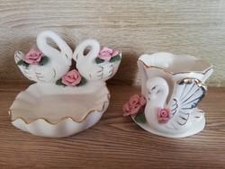 Vadonatúj kagyló forma rózsa és hattyú díszes porcelán kehely és szappan tartó fürdőszobai szett