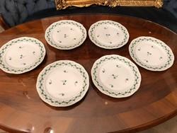 Előételes tányér, herendi porcelán, petrezselyem minta, 6db.