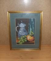 Gobelin csendélet kép üvegezett képkeret  24*30 cm (g)