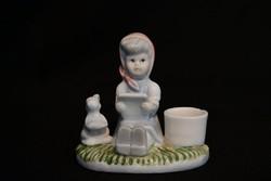 Kislány nyuszival - kézműves kerámia vitrindísz - gyertyatartó
