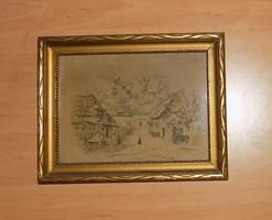 Goblein gobelin üvegezett képkeretben falusi tájkép 22*28,5 cm