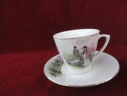 Keleti porcelán teáscsésze + alátét, a kép egy jelenetet ábrázol.