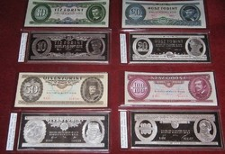Complete collection Ag 999 silver UNC Forint antique hungarian banknote luxury full set